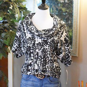 Dolman sleeve Cowl neck abstract top